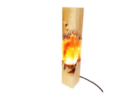Epoxidharz Leuchte Holzturm orange