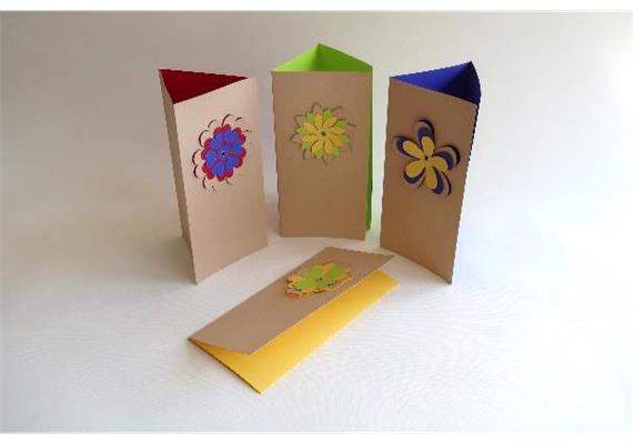 Karten - Danke: Blumen / Packpapier