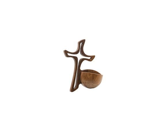 Weihwassergefäss: Kreuz Rondo - Nussbaum